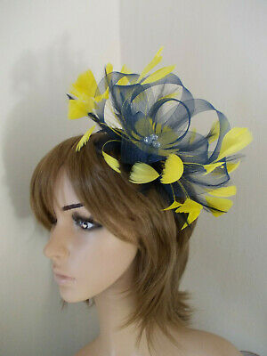 Navy Blue Yellow Looped fascinator feathers diamante headband