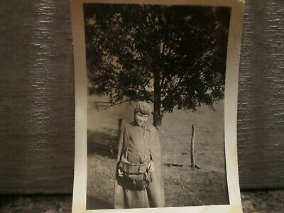 "Antique, 1927 Black & White Photos, ""Fashionista - Young Girl In NEW Rain Coat"""