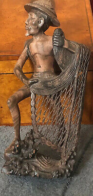Carved Old Or Antique Chinese Wooden Figure of an Elder With a Fishing Net