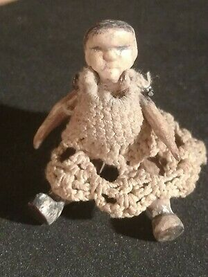 Miniature Antique Hand Carved Jointed Wooden Doll Crochet Dress Original