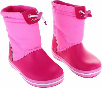 NEW Crocs Lodgepoint Girl's Candy Pink Lightweight Warm Pull On Playground Boots