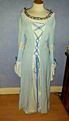 Light Sky Blue Lace & Ribbon Medieval Fantasy Costume Full Sleeves Corset 14/16