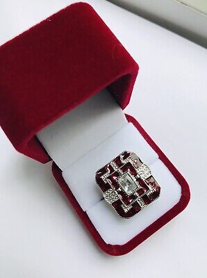 Antique Art Deco 14K White Gold Filled Red & White Sapphires Size 8