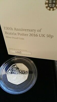 2016 Beatrix Potter Silver Proof Peter Rabbit 150th Anniversary 50p Coin