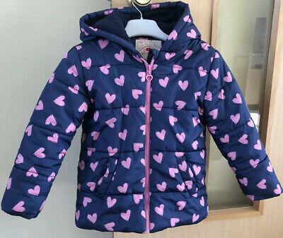 Girls George Hooded Coat Navy/Pink Heart Patterned Aged 5-6 Years