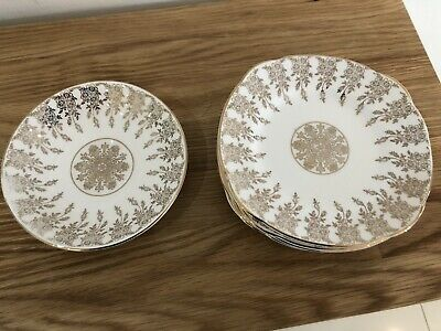 Vintage Marie Productions 22kt Gold Border Saucers / Side Plates -5 Sq , 1 Round