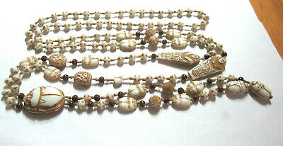 Art Deco Egyptian Revival HUGE Scarab Glass Beads Necklace Neiger Brothers Long