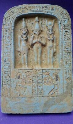 ANCIENT EGYPTIAN ANTIQUES ISIS ORISIS HORUS Sacred Egyptian Trio Relief 1375 BC