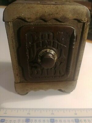 Antique Vintage Plated Coin Deposit Bank Cast Iron 1800's GOOD CONDITION