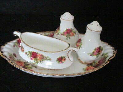 Royal Albert 'Old Country Roses' Salt & Pepper Pots Mustard Pot On Oval Tray 1St