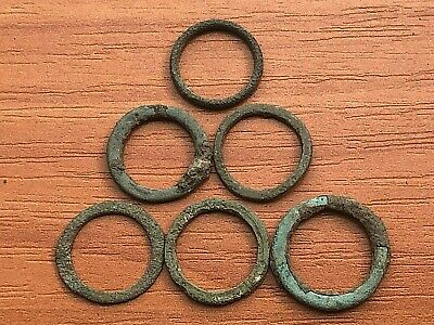"""Lot of 6 Ancient Celtic Proto Money Bronze Rings """"Coins"""" Circa 400 BC Very Rare"""