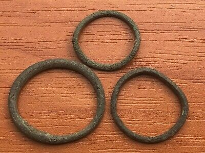 """Lot of 3 Ancient Celtic Proto Money Bronze Rings """"Coins"""" Circa 400 BC Very Rare"""