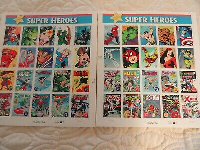 U.S. 2 PANES/SHEETS OF 20 each SUPER HEROES STAMPS 41 & 39 CENTS-MNH-Chapter 1&2