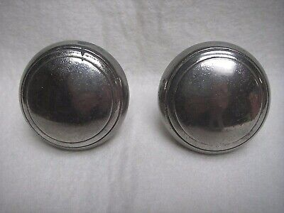 Pair of Antique Vintage Art Deco Chrome Door Knobs