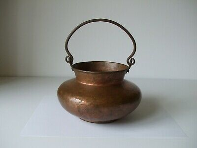 Old Native American Luggage Handle Hand Hammered Copper Pot
