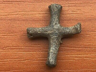Ancient Late Roma or Byzantine Medieval Lead Cross Circa 300-500 AD Very Rare