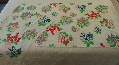 """Vintage LEACOCK & CO., Variety of Colorful Fruit Table Cloth 70"""" X 50"""", Festive"""
