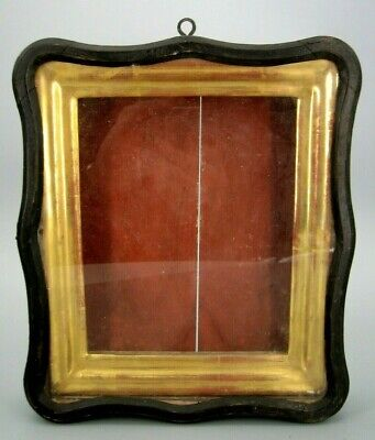 """Antique 19c Russian Antique Orthodox Icon """"Kiot"""" - Goldplated Frame Shadow Box"""