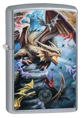 Zippo Anne Stokes Colorful Dragons Street Chrome Windproof Pocket Lighter, 49104