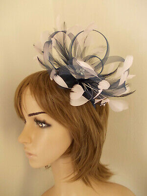 Navy Blue Pale Pink Looped fascinator feathers diamante headband
