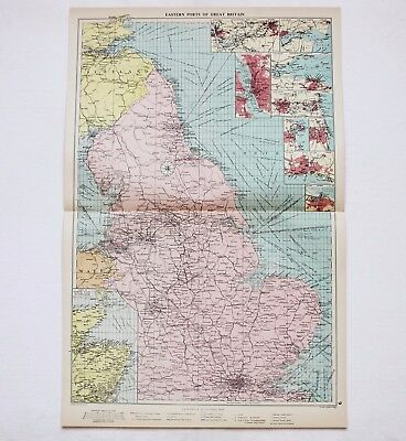 1952 Great Britain Map Railroad Ports Shipping Routes Naval Stations Mercantile