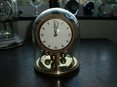 Vintage Kundo Kieninger And Oberfell Brass Mantel Clock with Glass Dome c1950/60