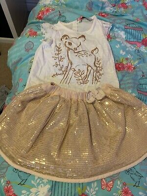 Age 2-3 Girls Party Outfit Gold Sparkly Sequined Top And Skirt Set