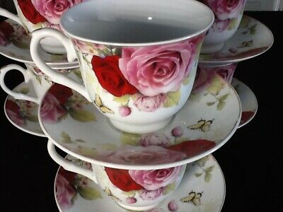 7 oz Coffee 12 Pc Cup Saucer Set Cappuccino Tea Coffee RED PINK ROSE BUTTERFLY