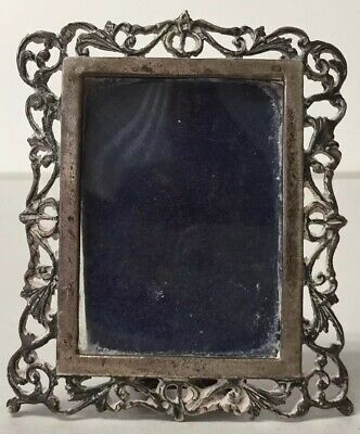 Antique Solid 800 Silver Filigree Miniature Picture Frame