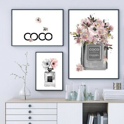 Set Of 3 A4 Chanel Perfume Prints Grey & Pink Buy & Save 20% Before 31/1/20