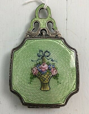Antique Sterling Silver French Guilloche Enamel Chatelaine Compact or Pendant