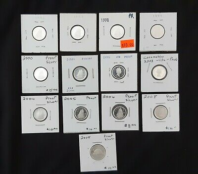 Lot Of 12 Canada Proof Sterling Silver 10 Cent   *Free Shipping *.