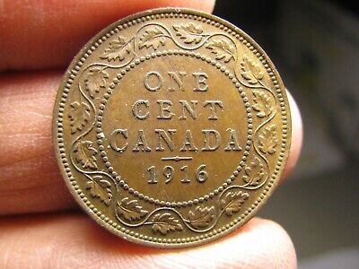Canada large 1 Cent 1916 coin George V