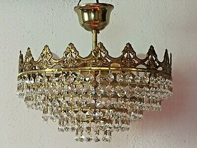 Antique Chandelier, Brass/Crystal, 30cm, 5 Tiers, French/Spanish. Very Ornate.