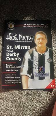 Signed Hugh Murray Testimonial Programme St Mirren V Derby County