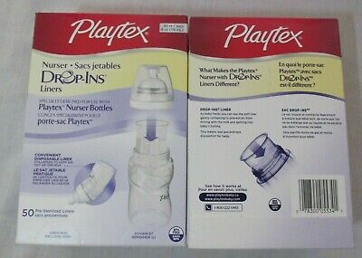 NEW Playtex baby Nurser Drop-Ins bottle liners 4 ounce 100 count Free Shipping