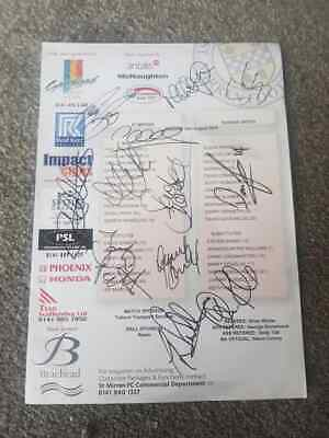 Multi Signed St Mirren Teamsheet V Dundee United 2010