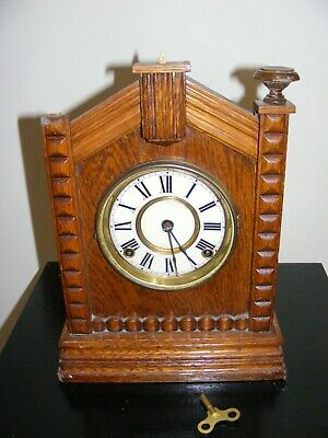 Vintage Mantel Clock Ansonia New York Usa Clock Company With Key