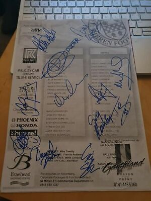 Multi Signed Gretna Teamsheet (Away To St Mirren) Now Defunct Football Club