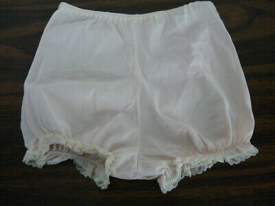 Girls Size 4 60s Nylon Lace Panties Childs Brief White /Pink L-28