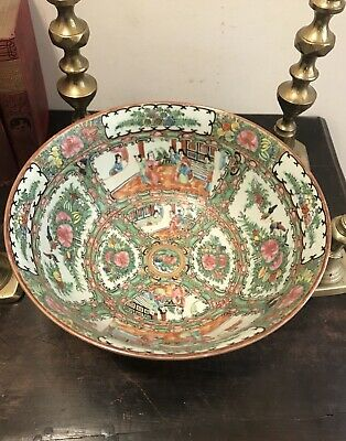 "Antique Chinese Famille Rose Medallion Large 11 3/4"" Bowl Export Canton 1920's"