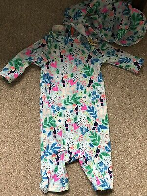 Boden Baby Girl Swimsuit And Hat Set- 3-6 Months- Brand New