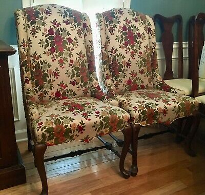 Two Vintage Ethan Allen Classic Manor Chippendale Upholstered Wing Chairs