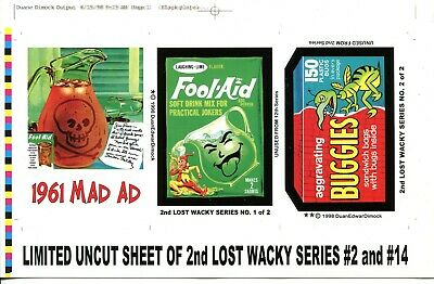 2005 Topps Wacky Packages Lost Wackys 1st Series Uncut Sheet of 2 Stickers
