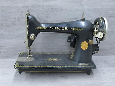 Vintage Singer Black and Gold Pattern Sewing Machine AC984219 No Pedal