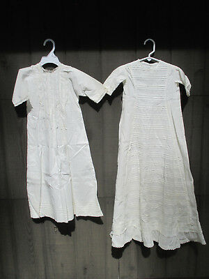 Baby Christening Gowns Heirloom Sewn White Pleats Lace Antique Set of 2 Dresses