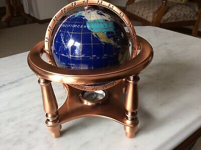 Vintage Mother Of Pearl Lapis Gemstone Inlaid World Globe W/Compass Copper Tone
