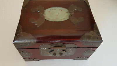 Vintage Wooden Metal Bound Jewellery Box Very good condition