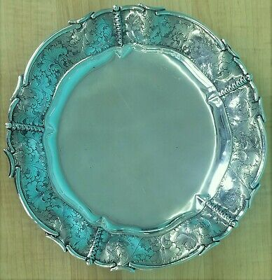 """ITALIAN 800 Silver HAND CHASED 12"""" platter  - .800 silver Italy"""