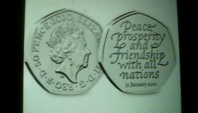 **Official UK 2020 Brexit 50p Coin on card Brand New Released 31st January***